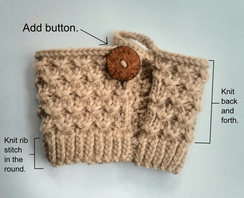 Knitting Stitch Knot : Diagonal knot mug instruction 2 - Purl Avenue