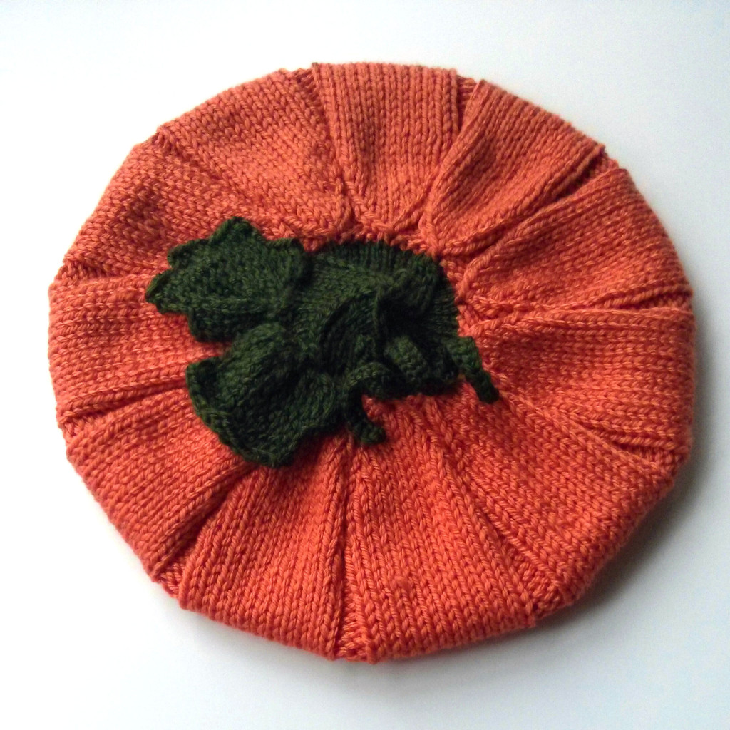 knitted pumpkin hat top