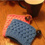 Diagonal Knot Mug Cozy knitted by Andrea L.