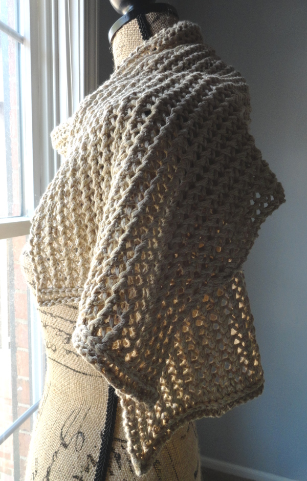 Rustic Ribbed Mesh Scarf side - Purl Avenue
