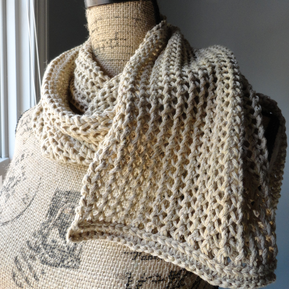 Mesh Lace Knitting Pattern : Rustic Ribbed Mesh Scarf - Purl Avenue