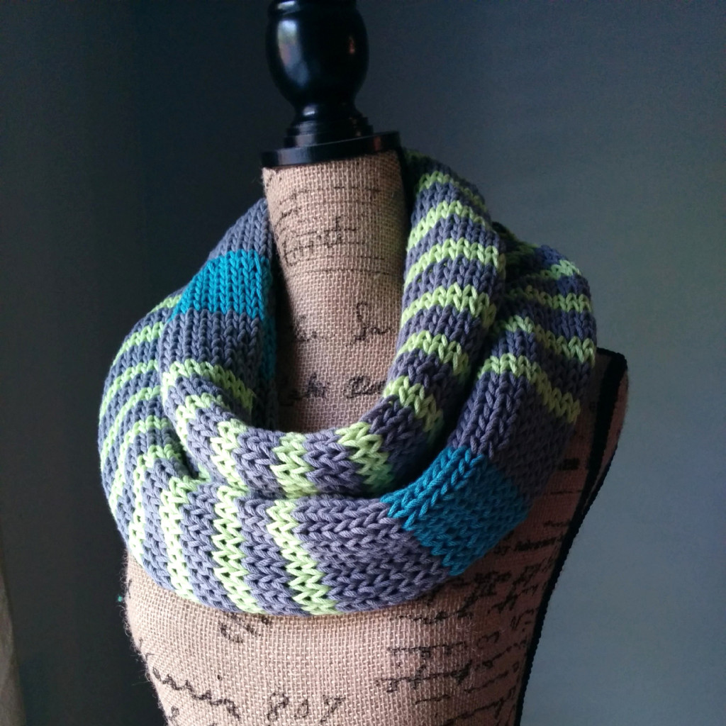 Knitted Stockinette Stitch Scarf Pattern : Neon Stripes Infinity Scarf - Purl Avenue